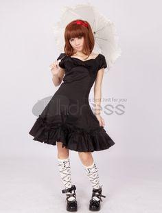 Lolita Dresses-Black Short Sleeves Bow Cotton Classic Lolita Dress