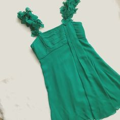 BCBGMaxAzria Emerald Green Chiffon Dress Floating on an emerald dream! This dress is flirty and feminine while being a comfortable choice for any of your summer events! Adjustable straps, invisible zipper, two layers of fabric. Fits true to size and completely flawless! BCBGMaxAzria Dresses Mini