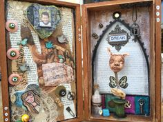 Mixed media. Assemblage. Wooden box. Shrine. Art by Artsy Soul.