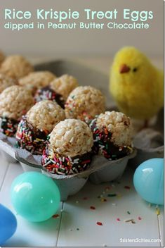 Rice Krispies Treat Eggs Dipped in Peanut Butter Chocolate