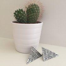 Aztec Print Triangle Earrings🌿 3.5cmx2.5cm🌿 Tags: #belt#buckle#recycle#tops#hat#riverisland#glitter#black#white#chocker#necklace#yingandyang#urban#cheap#bargin#depop#new#jeans#pretty#art#handmade#pendant