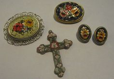 VINTAGE LOT OF 4 ALL MICRO MOSAIC JEWELRY PINS, CROSS PENDANT, CLIP EARRINGS #4