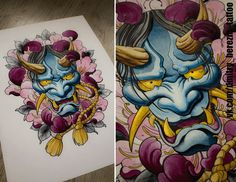 Even more lotuses up for grabs and Knee Tattoo, Tattoo On, Tattoo Drawings, Hanya Mask Tattoo, Hannya Tattoo, Chinese Tattoo Designs, Subtractive Color, Dragon Mask, Japanese Dragon Tattoos