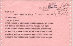 1957 telegram to President Eishenhower  Parents of little rock nine chirdren