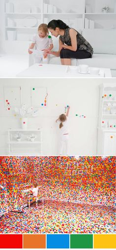 the queensland gallery of modern art set loose a bunch of kids in an entirly white room with a million stickers, and it made... ART!!!