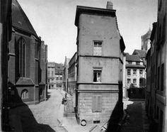 Kirchhof der Nikolaikirche um 1880, rechts die Eiergasse