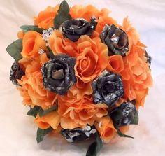 Mossy Oak Camo, Camo Wedding Bouquet, Camo Bridal Bouquet, Orange Silk Flowers, Camo Wedding, Bullet Shells, Camo Flowers  Let us create a bouquet for you that will last fo...