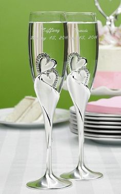 """""""Sparkling Love"""" Silver & Diamond Hearts Toasting Flutes - Wedding Accessories"""