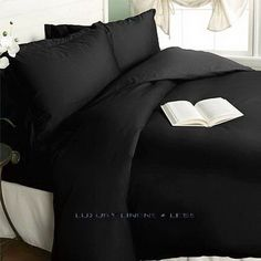 300tc Hotel Egyptian Cotton Black Striped Duvet Comforter Cover and Shams Set with Sheets King Size