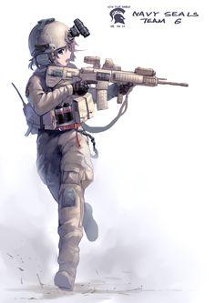 assault_rifle belt blue_eyes brown_hair explosive gloves grenade gun helmet…