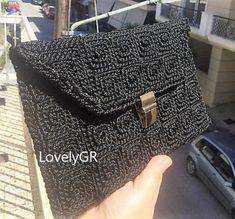 Women Crochet Canvas Handbag Black Color Bags&Purses