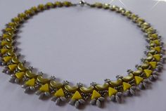 Statement Ketten - Romantisch gefädeltes Collier, grau/gelb - ein Designerstück von SandraEbRi bei DaWanda