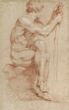 GIAN LORENZO BERNINI Seated Male Nude, Red chalk heightened with white chalk on buff laid paper 16 × 10 in × cm Courtesy of the Princeton University Art Museum Human Figure Drawing, Figure Sketching, Life Drawing, Painting & Drawing, Buy Prints Online, Annibale Carracci, Gian Lorenzo Bernini, Renaissance Kunst, Drawing Studies