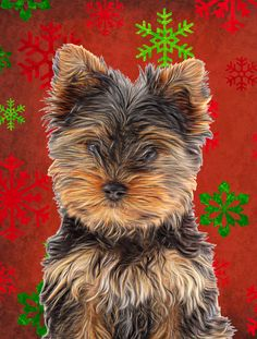 Red Snowflakes Holiday Christmas Yorkie Puppy/Yorkshire Terrier House Vertical Flag