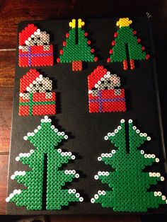 Christmas ornaments hama perler beads by Dorte Marker Melty Bead Patterns, Pearler Bead Patterns, Perler Patterns, Beading Patterns, Quilt Patterns, Christmas Perler Beads, 3d Christmas, Beaded Christmas Ornaments, Christmas Patterns