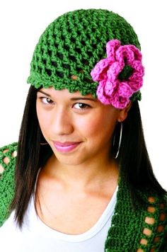 Peek-a-Boo Flower Hat. Less than an hour from start to finish!  LOVE quick projects like this!