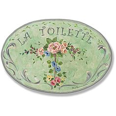 @Overstock.com - Green w/Flowers La Toilette Plaque Oval - Dress up a bathroom with this colorful plaque for walls from Stupell Home Decor. The MDF material is carefully handcrafted to make it durable enough to last for years to come. The green background will look great against almost any wall color.  http://www.overstock.com/Home-Garden/Green-w-Flowers-La-Toilette-Plaque-Oval/6345391/product.html?CID=214117 $24.99
