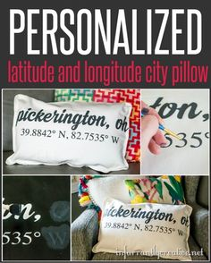 Custom and personal longitude and latitude stenciled city pillow