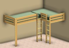 Double Loft Bed Plans!!! Now you can put whatever you want under the loft beds such as, desk with storage area, futon, dressers, or desk with a bookcase.