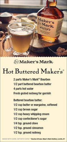 Hot Buttered Maker's - Cocktails and Drinks Hot Dog Buffet, Bourbon Cocktails, Cocktail Drinks, Cocktail Recipes, Liquor Drinks, Alcoholic Drinks, Beverages, Christmas Cocktails, Holiday Drinks