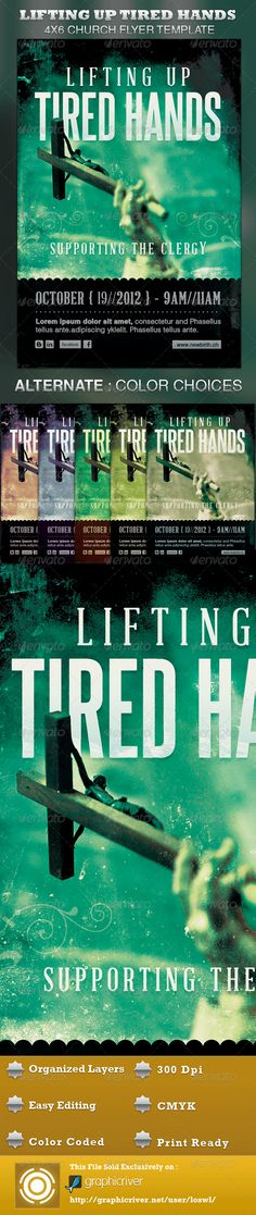 The Lifting up Tired Hands Church Flyer Template is great for any church program, especially designed for Clergy Appreciation Month. In this package you'll find 1 Photoshop file. All text and graphics in the files are editable, color coded and simple to edit. The file also has multiple one-click color options, but endless colors are possible with this file. - $6.00