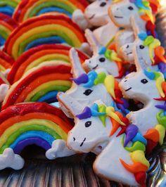 Unicorn and Rainbow cookies.