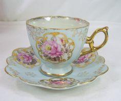 Vintage Porcelain Tea Cup and Saucer Blue Luster Pink Cottage Roses Gold Trim Made In Japan via Etsy