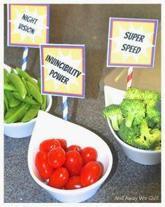 Superhero party food! (printables on blog post)