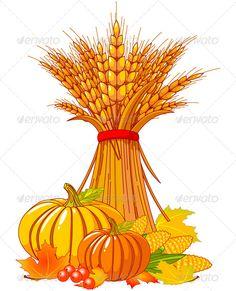 Seasonal background with plump pumpkins, wheat, corn and autumn leaves.EPS 8 (editable), JPG (high resolution)