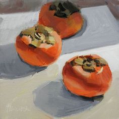 still life oil painting of a three persimmons sitting on a white tabletop with side lighting and shadows.