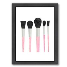 Americanflat Peach & Gold Makeup Brushes Framed Graphic Art in Pink Size: