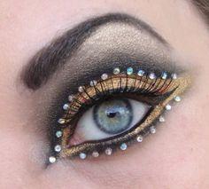 crystals, rhinestones makeup
