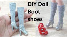 Sewing Barbie Clothes, Barbie Dolls Diy, Barbie Shoes, Barbie Clothes Patterns, Crochet Doll Clothes, Doll Shoes, Diy Doll Boots, Barbie Accessories, Doll Tutorial
