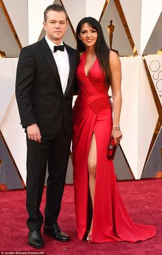 Gorgeous couple: Matt Damon and wife Luciana Barroso smiled as they arrived at the Academy Awards in Hollywood on Sunday