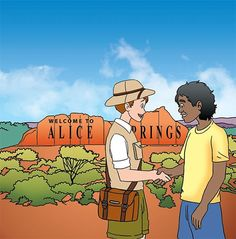 """Frederick von Wigglebottom's first adventure takes us to Alice Springs, a town in central Australia with heavy Aboriginal influences. """"I tried to pick cities that are less well known, but big enough to have culture and unique characteristics,"""" Moldenhauer says. His geographical experience as a military intelligence agent—paired with extensive research about the sites—provides the factual base for each Spin the Globe story."""