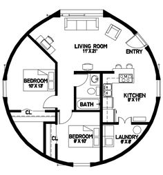 Plan Number: DL3202 Floor Area: 804 square feet Diameter: 32' 2 Bedroom 1 Bath
