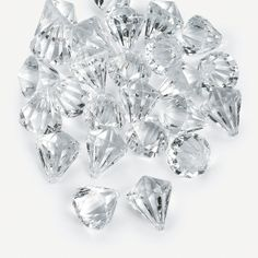 """Clear Gems. Each faceted decoration really sparkles! Scatter these Clear Gems about centerpieces or candles at your cake table for a little extra flourish. Acrylic. (25 pcs. per unit) 1"""""""
