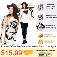 Women's Day is coming up and every girl deserves a treat for herself. Romwe is putting a sale on this Off-White Aztec Tribal Cardigan on March 2014 for only Happy Woman Day, Happy Women, Off White, Aztec Print Cardigan, Ladies Day, Everyday Outfits, Pattern Fashion, Fashion Outfits, Fashion Trends