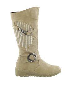 KIDS GIRLS CHIRLDREN?S BEIGE WARM KNEE ZIP LIGHTWEIGHT WINTER BOOTS SHOES | eBay