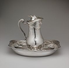 Ewer and basin, Marc Bazille, French, 1745-46, silver