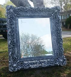 Recently I acquired this huge, chunky, really dated gold mirror. Be honest, would you want that to hang this in your house? Gold is making a co… End Table Makeover, Mirror Makeover, Diy Mirror, Mirror Ideas, Light Up Canvas, Coffee Filter Crafts, Mesh Wreath Tutorial, Ornate Mirror, Gold Mirrors