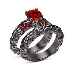 Round Cut 1.27 Ct Red Garnet Prong Set Wedding Band Bridal Ring Set Sz 5-12 AVL #aonedesigns