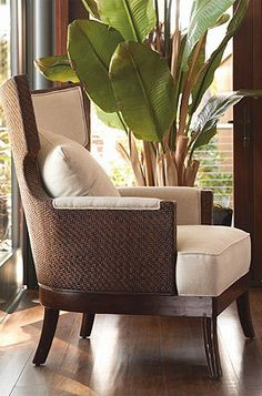 Sophisticated coastal style in mahogany and rattan. Colonial style chair I like House Design, Interior, Tropical Home Decor, House Styles, Home Decor, Colonial Decor, House Interior, British Colonial Decor, Colonial Style