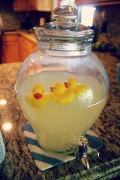 baby shower lemonade I say instead of the ducks use Bunnys bc that's what she is using in her room.