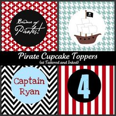 Free pirate party printables. Cupcake toppers, treat bags labels for favors, and cute signs.