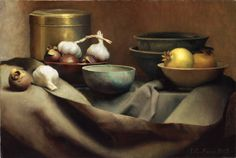 Louise Camille Fenne, Danish painter 'Still Life with Fruit and Garlic' Oil on Canvas. Still Life Oil Painting, Painting On Wood, Florence Academy Of Art, Forms Of Poetry, Oil Painting For Beginners, Still Life Fruit, Roman Art, Hyperrealism, Modern Artists