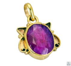 Indian Ruby Gold Plated Fashion Pendant Artificial Riyogems Jewelry