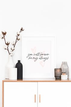 You Will Forever Be My Always Wall Art Printable for the Bedroom or Living Room | Minimalist Wall Home Print - Blush Created