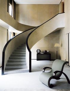 "curved staircase, Armani Hotel"" by Enrico A. Architecture Details, Interior Architecture, Stairs Architecture, Exterior Design, Interior And Exterior, Casa Hotel, Flur Design, Hallway Designs, Interior Stairs"