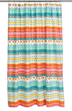 Brighten up your bathroom with a colorful, printed shower curtain.